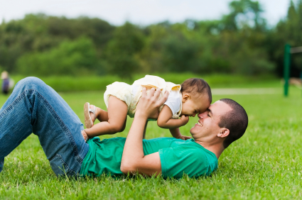 Father on Grass with Baby