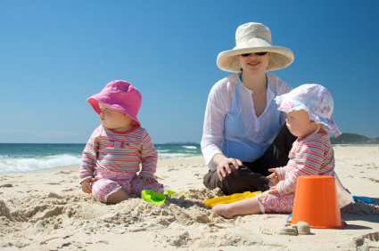 Mother and Twins at Beach